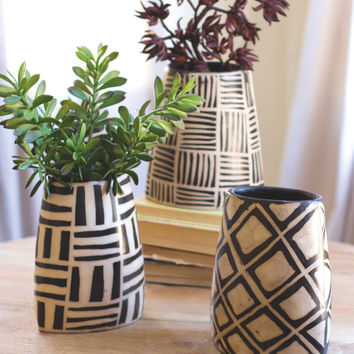 Set Of Three Black And White Oval Vases With Geometric Designs