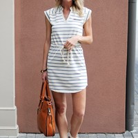 Casual Draw String Dress -Striped French Terry Dress - $75.00 | Hand In Pocket Boutique