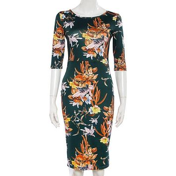Womens Brand Bodycon Dresses New Vintage 2017 Spring Summer Office Green Mock Neck Floral Pencil Midi Dress Vestidos