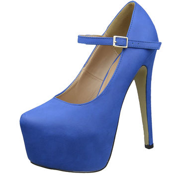 Womens Platform Shoes Ankle Strap Closed Toe Stiletto Pumps Blue SZ