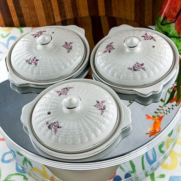 Vintage Food Warmer Forman Family, Inc. Mid Century Portable Steam Table Hall China Co. Ceramic Crocks with Lids  Chromium  New/Old Stock