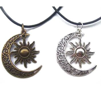 Moon Necklaces Antique Bronze Silver Crescent Moon/Sun Charm Pendant