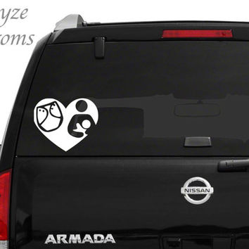 Breastfeeding & Cloth Diaper Heart Car/Computer vinyl decal / Please put color choice in note to seller.