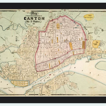 Old Map of Guangzhou old Canton 1860 China - VINTAGE MAPS AND PRINTS