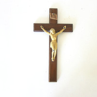Vintage Crucifix Cross Religious wall hanging Catholic Jesus on wooden Cross