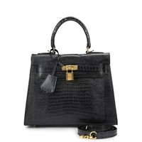 House Of Hello Women's Genuine Leather KL Style Lizard Grain Top-handle-bags