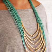 Woven Gold Necklace - Turquoise