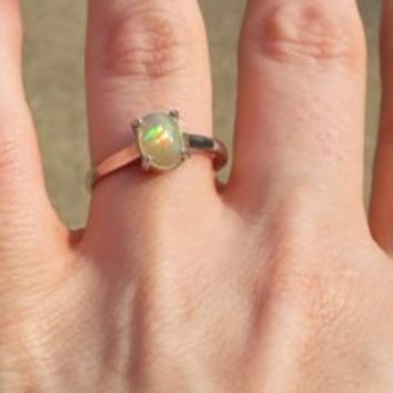Natural Ethiopian Opal 925 Sterling Silver Ring