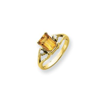 0.05 Ct  14k Yellow Gold 8x6mm Emerald Cut Citrine Diamond Ring I2 Clarity and I/J Color