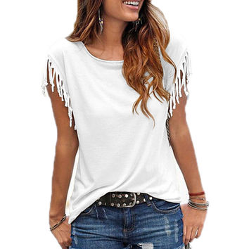 Women Cotton Tassel Casual Blouses Short-sleeved Solid Color Shirts Top Short Sleeve O-neck Women's Clothing Blouse