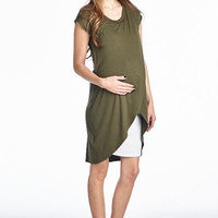Olive and White Nursing Dress