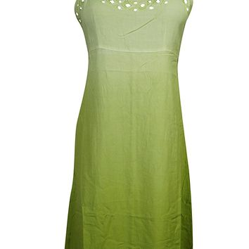 Mogul Womens Sundress Green Cut Out Neck Design Tie Back Bohemian Sexy Tank Dress