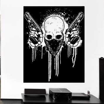 Wall Decal Skull Guns Guns Gangster Gangster Crime Offender Vinyl Decal Unique Gift (ed399)