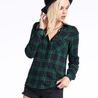 Polly & Esther Challis Womens Boyfriend Flannel Shirt Green  In Sizes