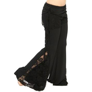 Stylish Mid Waist Lace Spliced Pure Color Elastic Flare Pants for Women