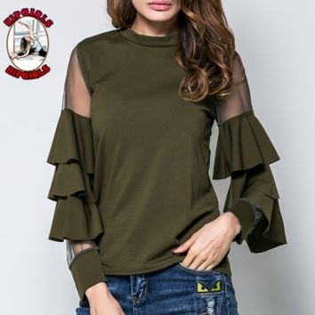 New fashion solid color lotus leaf side long sleeve top women Army Green