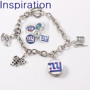 New York Giants Snap Button Jewelry Link Chain Bracelet With USA National Flag I Love Football Dangle Charm For Football Fans