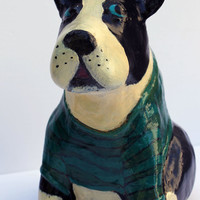 Buster the Boston Terrier - Paper Mache Clay Dog Sculptures