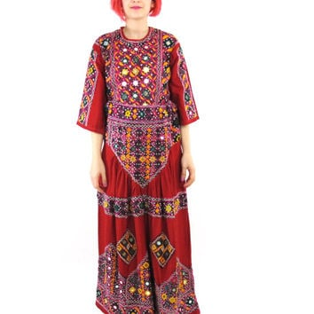70s Embroidered Indian Maxi Skirt Shisha Mirror Work Colorful Tribal Ethnic Skirt Red Cotton Hippie Folk Boho Skirt Matching Top Set (L/XL)