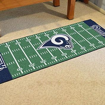 FANMATS Los Angeles Rams Field Runner Mat Area Rug, Man Cave, Bar, Game Room