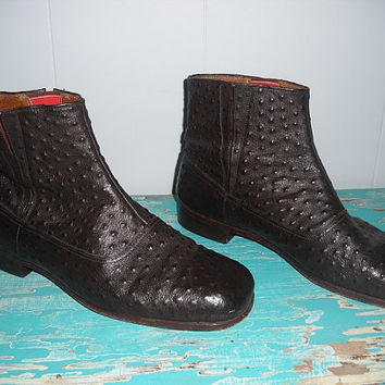 Vintage Leather Faux Porpoise Skin Ankle Boots Men's 12 Matador NICE