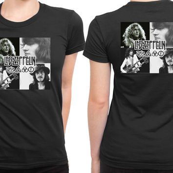 Led Zeppelin Legend Photo And Logo One By One 2 Sided Womens T Shirt