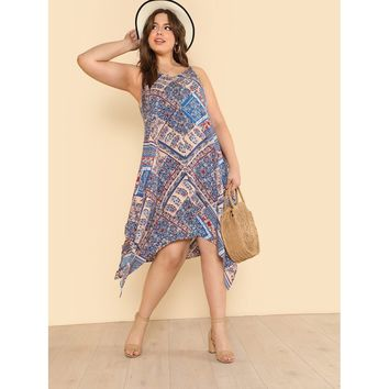 Patchwork Print Hanky Hem Cami Dress