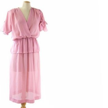 Vintage 1980s Pink Dress Sheer Peplum Bow Tie Sleeves Surplice Large