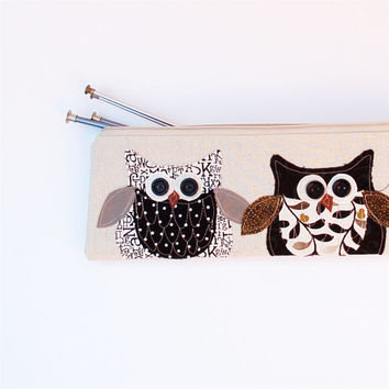 owl knitting needle bag, personalized, long zipper pouch, storage organizer bag, black and white MADE TO ORDER by mamableudesigns on etsy