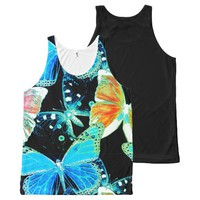 Vibrant colorful multitone butterflies texture des All-Over-Print tank top