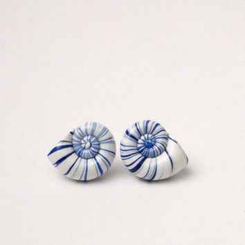 Post earrings, stud earrings - faux seashell earrings- beach fashion jewelry