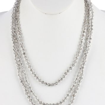 Gray Iridescent Glass Bead Extra Long Wraparound Necklace