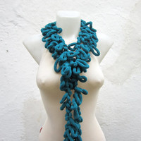 Hand crochet Long Scarf -Teal Green- Mulberry Scarf Pompom Fall Autumn Winter Accessories Fall Fashion