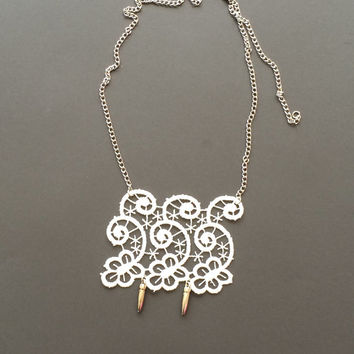 Lace Necklace with Silvery Chain, White Lace Jewelry, Statement Necklace, ReddApple, Fast Delivery