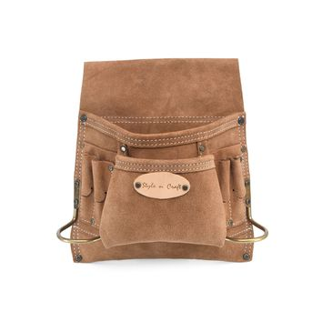 88823 - 8 Pocket Carpenter's Nail and Tool Pouch in Dark Tan Suede Leather