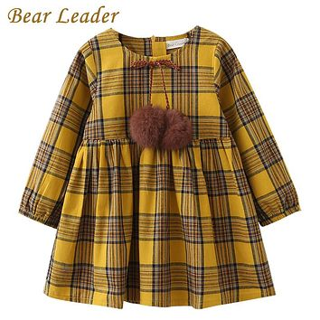 Bear Leader Girls Dress  Spring Brand Girls Clothes England Style Printing Bow Design Baby Yellow Girls Dress For 3-7Y