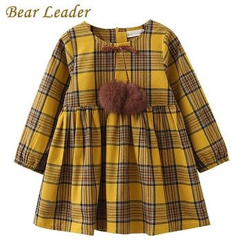 Girls Dress New Spring Girls Clothes Printing Bow Design Baby Yellow Girls Dress