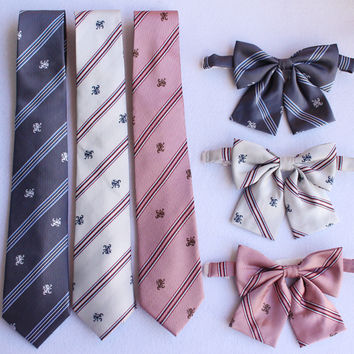 Lion Embroidery Striped Preppy Style British Japanese School Girls & Boys JK Uniform Bow Tie Neck Tie Students Cosplay