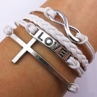 White Leather Rope Vintage Infinity Bracelet