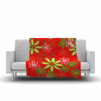"Holly Helgeson ""Daisy Mae"" Red Floral Fleece Throw Blanket"
