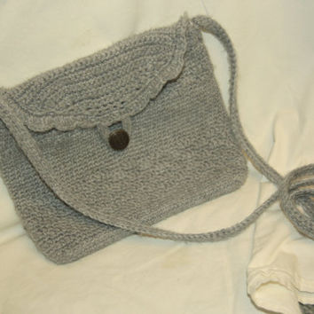 Grey Crossbody Purse with Floral Lining