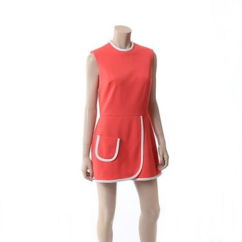 Vintage 60s Kay Windsor Scooter Mini Dress 1970s Orange and White Poly Knit Retro Preppy Fit and Flare Dress