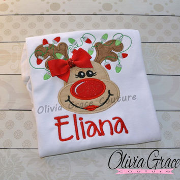 Girls Reindeer Shirt, Girls Christmas Shirt, Embroidered Applique Baby Bodysuit Shirt