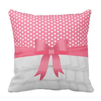 White Satin Ruffle and Bow with Polka Dots Pillows