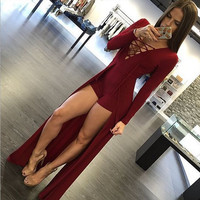 Long Sleeve V-Neck Strap Short Design Maxi Dress