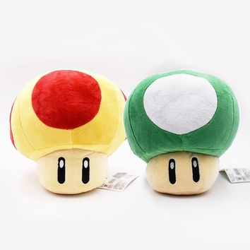 Super Mario party nes switch 20cm 8' 2Style  Mushrooms Soft Plush Toys 2 Colors Green Yellow  Pillow Anime Peluche Dolls   AT_80_8