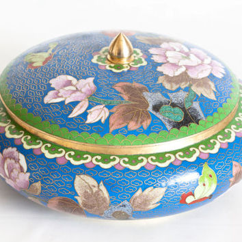 Vintage Chinese Cloisonne Jar Storage Container, Brass and Enamel Trinket Box Jewelry Box, Asian Home Decor