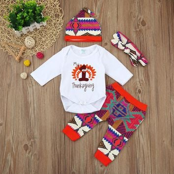 """4 pc """" My 1st Thanksgiving"""" Long Sleeve Onesuits with Pants, Hat and Headband"""