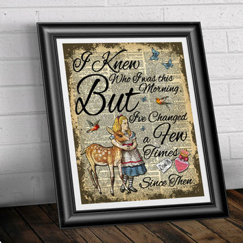 Alice in wonderland and the fawn book page art. Dictionary book page print poster quotation drink me bottle. Antique upcycled home decor