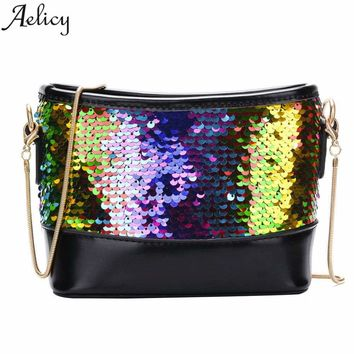 Aelicy New Fashion Women Lady Shoulder Wedding Clutch Bag Bling Sequins Chain Evening Handbag Purse Messenger Bag for Girls